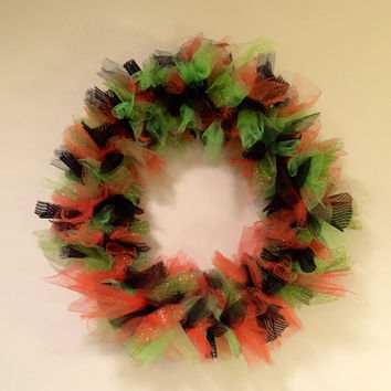Halloween Wreath, Autumn Door Decor, Orange, Green & Black, Wall Hanging, Tulle Wreath, 10 Inch Wreath, Shabby Chic, Holiday Decor, Party