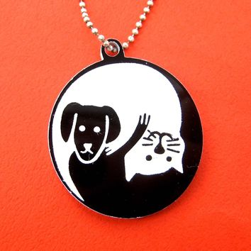 Kitty Cat and Dog Shaped Animal Themed Pendant Necklace in Black Acrylic