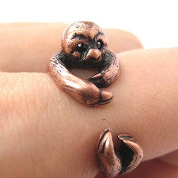 Sloth Animal Wrap Around Hug Ring in Copper - Sizes 4 to 9 Available