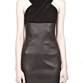 Black Criss Cross Suede Leather Dress - Alexander Wang
