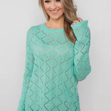 Long Sleeve Pointelle Knitted Sweater- MInt