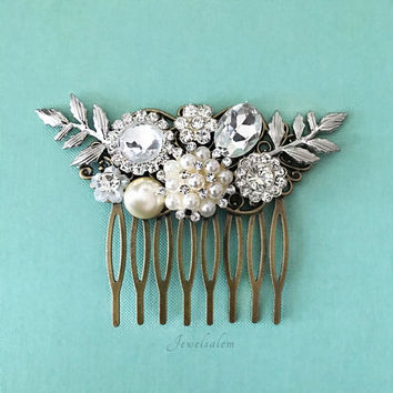 Bridal Headpiece, Silver Leaf Wedding Hair Accessories, Rhinestone Hair Comb, Beach Wedding, Victorian, Vintage, Pearl Hair Pin, Clip