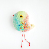 Rainbow Bird Embroidery Keychain/ Bagtag/ Brooch/Ornament/ Your Choice - made to order