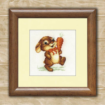 Cross Stitch Pattern PDF - Funny bunny. Baby gift, brown, pattern for embroidery, Hand Made pattern.