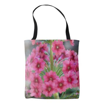 Red Primula Floral Tote Bag