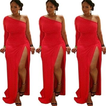 Plus Size Womens Cocktail One Shoulder Bodycon Party Cocktail Evening Maxi Dress