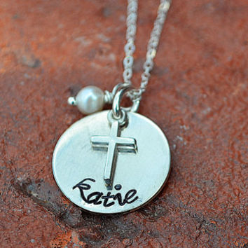 First Communion Personalized Cross Necklace Hand Stamped Sterling Silver