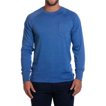 Puremeso Pocket Crew Long Sleeve Tee in Light Blue by The Normal Brand