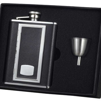 Visol SP Black Leather 6oz Flask Gift Set