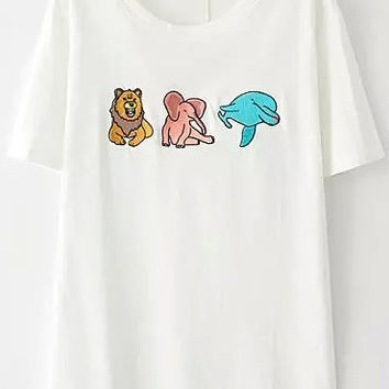 White Short Sleeve Animal Embroidered T-Shirt