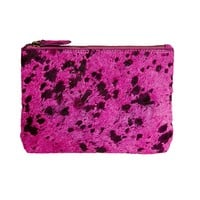 Bailey - Cowhide Leather Pouch - Fuchsia
