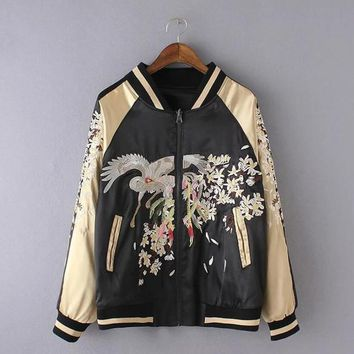 New Lover Jacket Hip Hop Man and Women Casual Coat Stand Collar Animal Printed Embroidery Stitching colours Bassball Uniform 2018 Spring