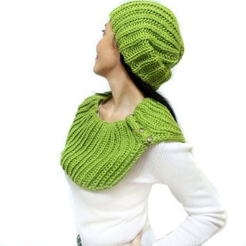 Hat Scarf set, Free Shipping, Slouchy green beanie hat scarf, Neck warmer, Shoulder warmer, Knitting scarf set