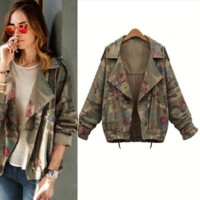 Large size loose women's bat sleeves short print camouflage [37749456922]