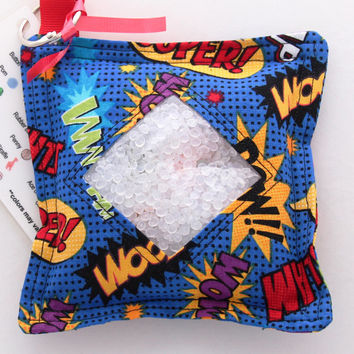 I Spy Bag with detachable item list, Super Hero, Comic Book Sayings, Pow, Whamm, Zoom