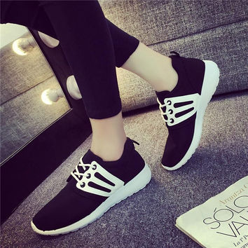 2016 breathable women casual shoes thick soled woman footwear canvas lace up shoes