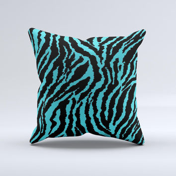 Vector Teal Zebra Print Ink-Fuzed Decorative Throw Pillow