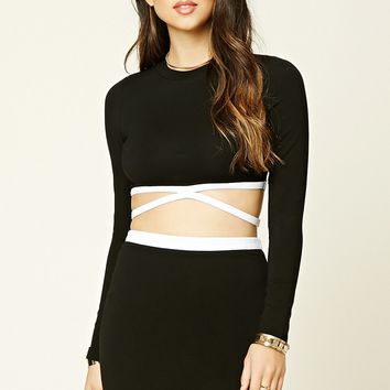 Contrast Strappy Crop Top