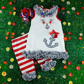 Adorable Ruffled Sailor Outfit - sailor set, sailor necklace, ruffled leggings, chunky anchor necklace - Size 4 & 5 Ready to Ship