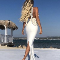 Luxury Embellished Pearl Open Back Maxi dress