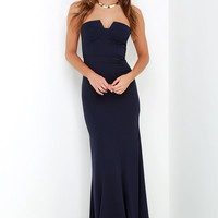 Ladylove Navy Blue Strapless Maxi Dress