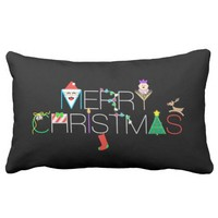 Merry Christmas Typography Lumbar Pillow