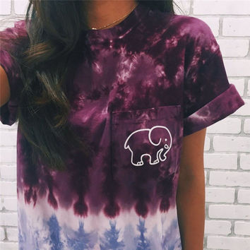 Cute Ladies Womens Tie Dye Gradient Elephant T Shirt