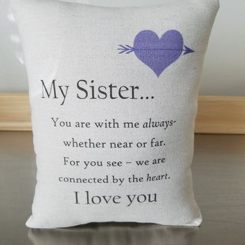 Sister pillow birthday gift throw cushion gift for her