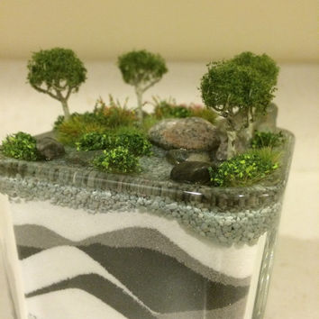 Assembled Terrarium -  Lush Greenery, Flowers and Scenery in a Square Glass Terrarium, Nature Scene, Nature Art, Home Decor