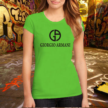 Giorgio Armani T-shirt Brand Fashion Logo Tee Cotton T Shirt, (Various Color Available)