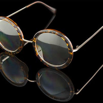"Womens Round Clear Lens Sunglasses ""Olivia"""