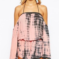 Surf Gypsy Tie Dye Drape Long Sleeve Sleeve Beach Playsuit