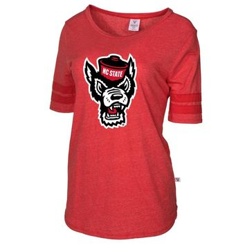 Official NCAA NC State Wolfpack RYLNCS06 Women's Short Sleeve Football Tee