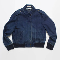 Vintage 80s CALVIN KLEIN Jean Jacket / 1980s Dark Blue Denim Women's Jacket