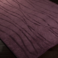 Wave Area Rug | Purple Solids and Borders Rugs Hand Loomed | Style WVE1002