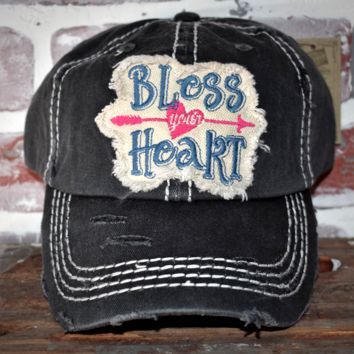 """Ladies Distressed Hat """"Bless Your Heart"""""""