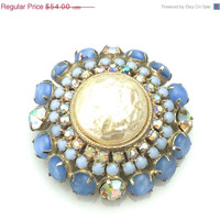 Blue Glass and Faux Pearl Brooch, Large Faux Baroque Pearl, Blue Glass Moonstone Cabochons, Aurora Borealis, Domed Pin, Gold Tone Brooch