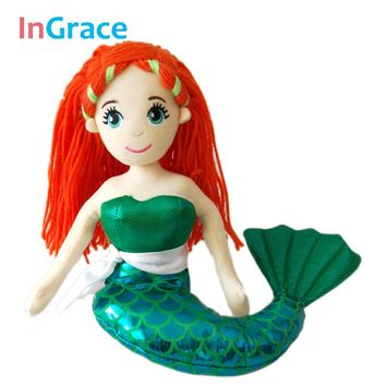 InGrace  NEW Fashion Green Little mermaid doll American girl's Favorite doll red hair beautiful girl toy