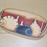 Hand Painted Prim Cats On Oval Bentwood Box