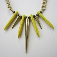 Phoenix Rising - Yellow Howlite Dagger & Brass Spike Necklace