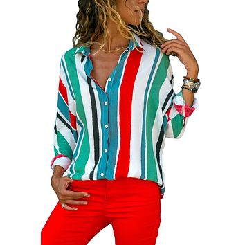 Z| Chicloth Green Blue Striped Long Sleeve Button Down Shirt