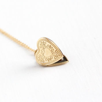 Vintage 14k Gold Filled Heart Shaped Locket Necklace - Retro 1970s Scrolling Design Love Pendant Dainty Photo Keepsake Photograph Jewelry