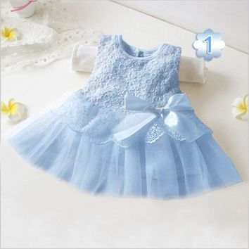 Retail! New 2016 white color branded baby girl dress full of embroidary flowers baby party dress babywear free shipping