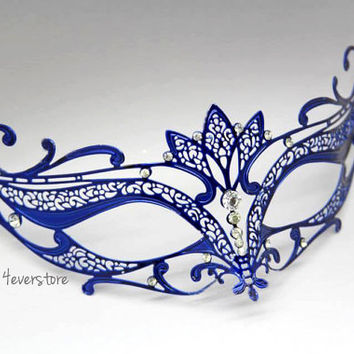 Majestic Blue Laser Cut Venetian Mask Masquerade with Diamonds - Made of Light Metal