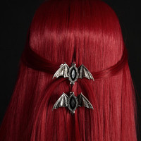Black Stone Gothic Bats Hair Clips Deathrock Jewelry