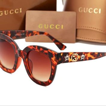 GUCCI 2018 men and women trend leisure polarized sunglasses F-ANMYJ-BCYJ Leopard