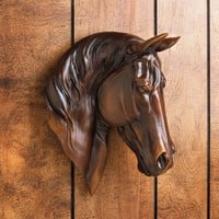 Wall Mounted Chestnut Brown Horse Bust Accent