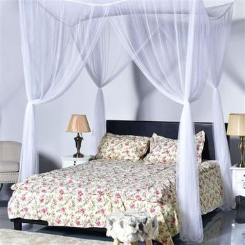 White 4-Post Bed Canopy Net for Full or Queen Size Beds