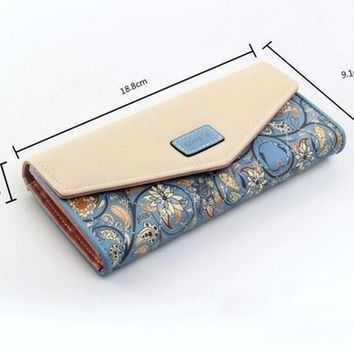 New Women Leather Wallet Floral Purse Card Mobile Bag long Zip Handbag hot [519898955791]