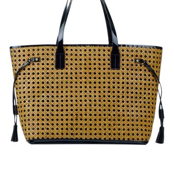 Toss Caning Sophia Tote - Black w/ Natural Caning